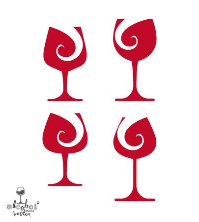 rendezvous: Beautiful vector sophisticated wine goblets, alcohol theme illustrations set. Stylized art wineglasses, romantic rendezvous idea. Lifestyle graphic design elements.