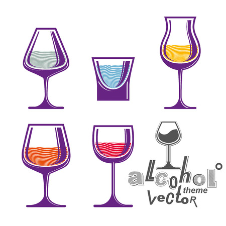 revelry: Colorful glasses collection – martini, wine, cognac, whiskey and champagne. Alcohol theme eps8 creative illustrations. Entertainment elements, best for use in graphic and web design.
