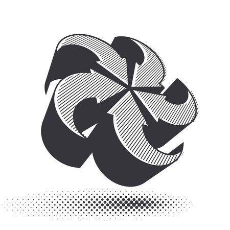 looping: Looping arrows vector abstract symbol, conceptual special made 3d single color icon. Illustration