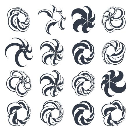 looping: Looping arrows vector abstract symbol collection, single color conceptual special made 3d icon set. Illustration