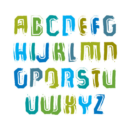typescript: Multicolored handwritten uppercase letters, vector doodle brush typescript, hand-painted set of letters with brushstrokes.