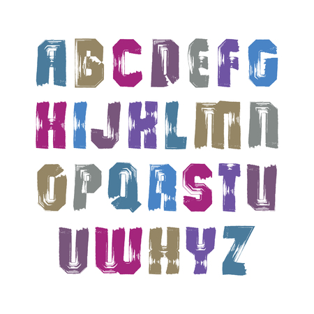 verb: Cartas de pincel caligr�fico may�sculas, brillante alfabeto vector pintado a mano.