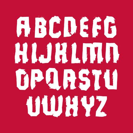 sans: Uppercase calligraphic brush letters isolated on red background, hand-painted sans serif vector alphabet.