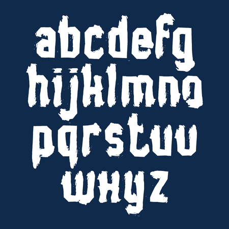 verb: Handwritten contemporary vector lowercase letters isolated on dark background, doodle hand-painted alphabet.