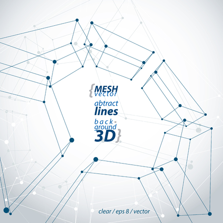 Spatial clear engineering vector illustration, set of 3d mesh symbol, wireframe parallelograms with connected lines and dots. Illustration