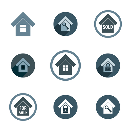 Real estate vector icons set, realty theme vector symbols collection. Vector