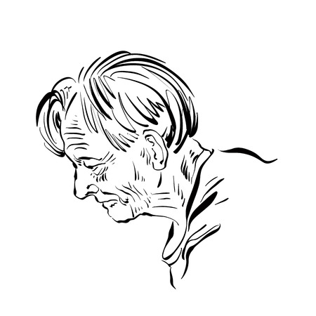 cartoon old man: Hand drawn illustration of an old man on white background, black and white drawing. Illustration