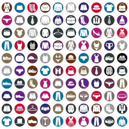옷 아이콘 벡터 컬렉션, 패션 표지판 및 기호 벡터 아이콘을 설정합니다. 일러스트