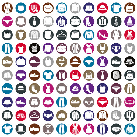 Vestiti di icone vettoriali, vettore icona insieme di segni e simboli di moda. Archivio Fotografico - 36525346