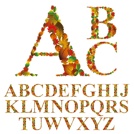 verbs: Font made with leaves, floral alphabet letters set, vector design.