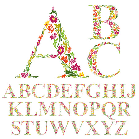 alphabet tree: Font made with leaves, floral alphabet letters set, vector design.