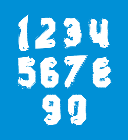 White hand painted daub numerals, collection of acrylic realistic digits with brushstrokes. Vector