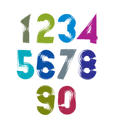 Calligraphic numbers drawn with ink brush, colorful vector numbers collection. Vector
