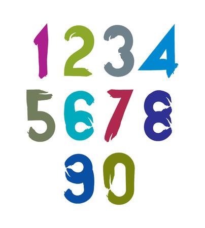 Vector stylish brush digits, handwritten numerals, sans serif numbers set on white background. Vector