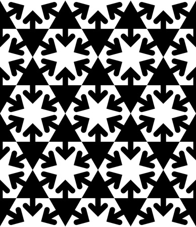 covering: Black and white symmetric textured geometric seamless pattern. Vector contrast textile backdrop with arrows and triangles. Hexagon graphic contemporary covering. Illustration