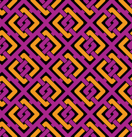 intertwine: Colorful geometric seamless pattern, symmetric endless vector background with intertwine lines. Abstract symmetric splicing covering.