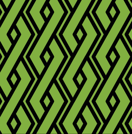 intertwine: Colorful geometric seamless pattern, symmetric endless vector background with intertwine green lines. Abstract vertical concept splicing covering. Illustration