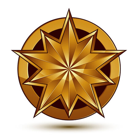 aurum: Wonderful vector template with golden star symbol, best for use in web and graphic design. Heraldic icon, clear eps8 vector.