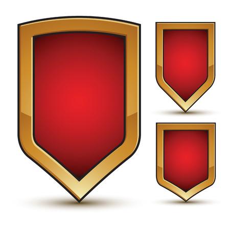 attribute: Branded glanzende geometrische symbolen set, gestileerde rode schild elementen met gouden overzicht, grafisch attribuut ontwerp, drie glamoureuze vector iconen op een witte achtergrond.