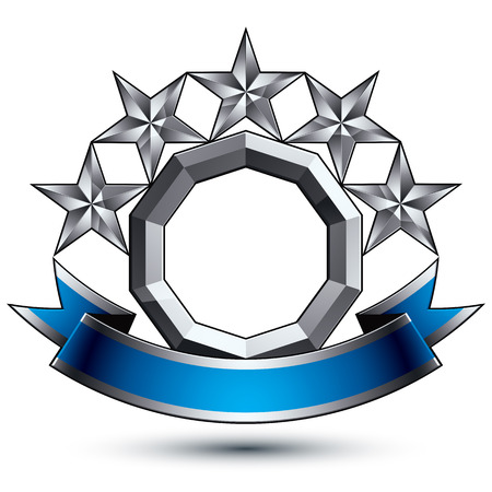 3d vector classic royal symbol, sophisticated silver round emblem with five pentagonal stars isolated on white background, glossy argent element with blue splendid ribbon. Stok Fotoğraf - 36393510