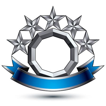 3D-vector klassieke koninklijke symbool, verfijnd zilver ronde embleem met vijf vijfhoekige sterren op een witte achtergrond, glanzend argent element met blauwe prachtig lint. Stock Illustratie