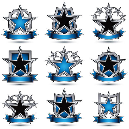 silvery: Set of silvery heraldic 3d glossy icons with curvy ribbons Illustration