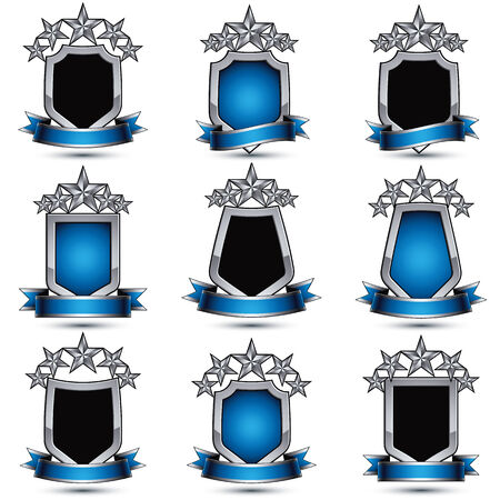 silvery: Set of silvery heraldic 3d glossy icons with curvy ribbons, best for use in web and graphic design, pentagonal silver stars, clear EPS 8 vector luxury symbols, shields.