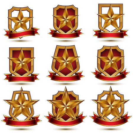 awarded: Set of geometric vector glamorous golden elements isolated on white backdrop, 3d polished stars, protection shields with red ribbon. Five stars branded symbols collection. Illustration