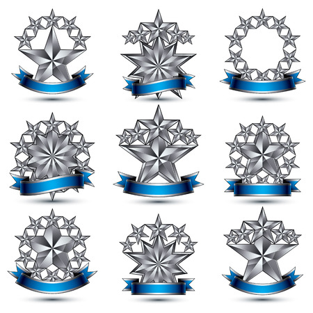 pentagonal: Set of silvery heraldic 3d glossy icons, best for use in web and graphic design, pentagonal silver stars, clear EPS 8 vector luxury symbols.