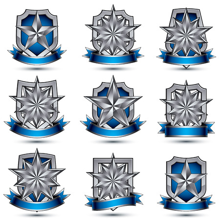 awarded: Set of silvery heraldic 3d glossy icons with curvy ribbons, best for use in web and graphic design, pentagonal silver stars