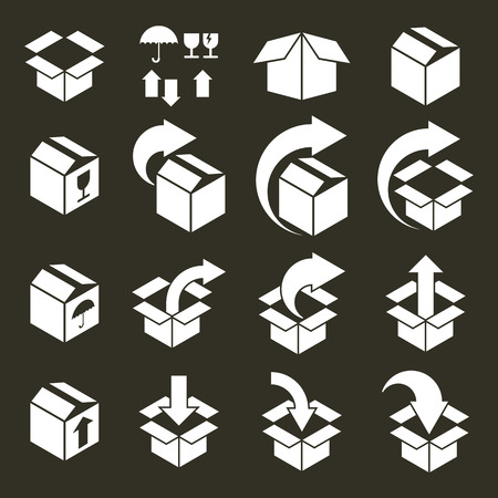 simplistic: Packaging boxes icons vector set, pack simplistic symbols vector collections.