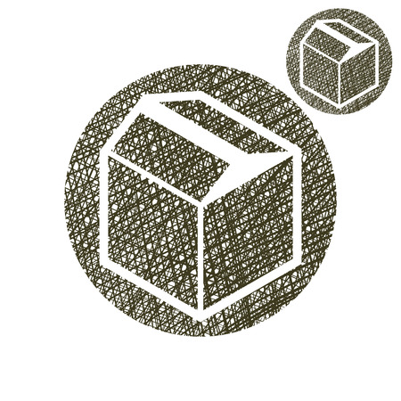 Packaging box vector simple single color icon isolated on white background with sketch lined hand drawn texture. Vector