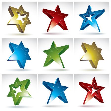 communistic: Conjunto de estrellas de malla 3D aislados sobre fondo blanco, la colecci�n de iconos de colores de la superestrella elegante del enrejado Vectores