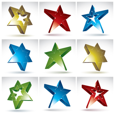 communistic: Set of 3d mesh stars isolated on white background, collection of colorful elegant lattice superstar icons