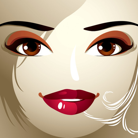 hairdo: Emotional expression on the face of a cute girl. Beautiful happy smiling woman with a modern makeup and stylish hairdo with locks. Illustration