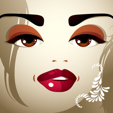 distrustful: Face makeup. Lips, eyes and eyebrows of an attractive woman displaying doubt. Fashionable female haircut.