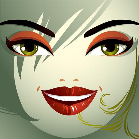 expression visage: L'image de la cosm�tologie th�me. Jeune jolie dame avec coupe de cheveux � la mode. Yeux, des l�vres et des sourcils refl�tant une expression du visage, le bonheur.