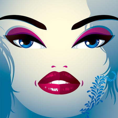 coquette: Coquette woman eyes and lips, stylish makeup and hairdo. People negative facial emotions.