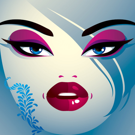 hairdo: Coquette woman eyes and lips, stylish makeup and hairdo. People facial emotions, shock and surprise.