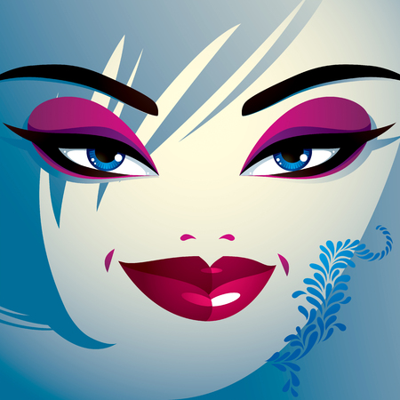 hairdo: Coquette woman eyes and lips, stylish makeup and hairdo. People facial emotions. Illustration