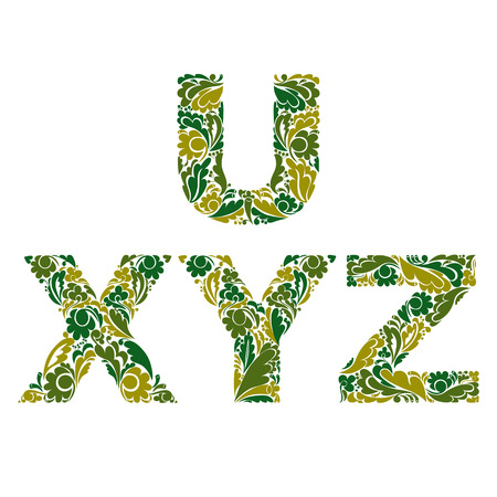 typescript: Vector letters decorated with seasonal leaves, U, X, Y, Z. Vintage ornamental typescript.