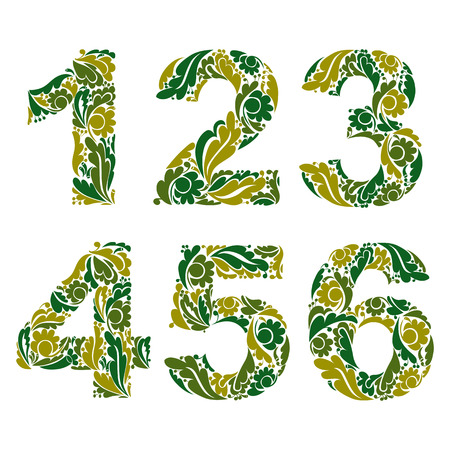 3 4: Vector numeration decorated with seasonal green leaves, 1, 2, 3, 4, 5, 6. Vintage ornamental numbers. Illustration