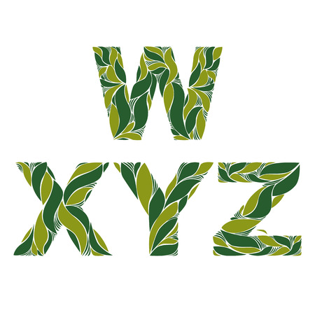 y ornament: Beautiful typescript with natural spring pattern created from green leaves. Flowery alphabet, calligraphic ornamental letters.