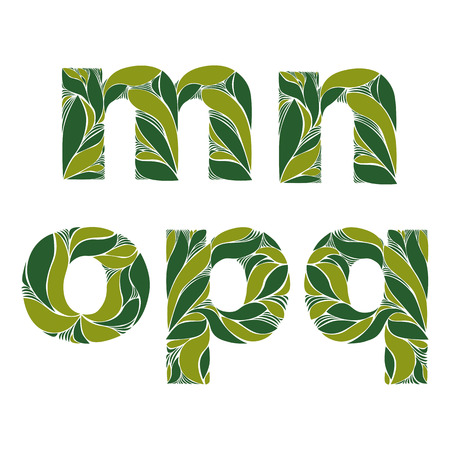 typescript: Beautiful typescript with natural spring pattern created from green leaves. Flowery alphabet, calligraphic ornamental lowercase letters.