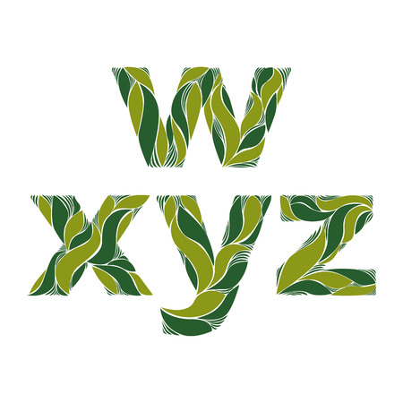 y ornament: Beautiful typescript with natural spring pattern created from green leaves. Flowery alphabet, calligraphic ornamental lowercase letters.