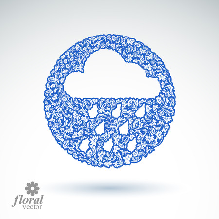cloudburst: Weather forecast vector icon, meteorology flower-patterned symbol. Cold season  abstract pictogram – storm cloud with falling rain drops. Illustration