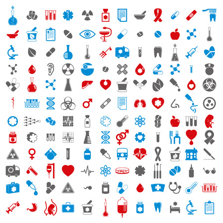 prescription bottles: Medical icons set, vector set of 144 medical and medicine signs. Illustration