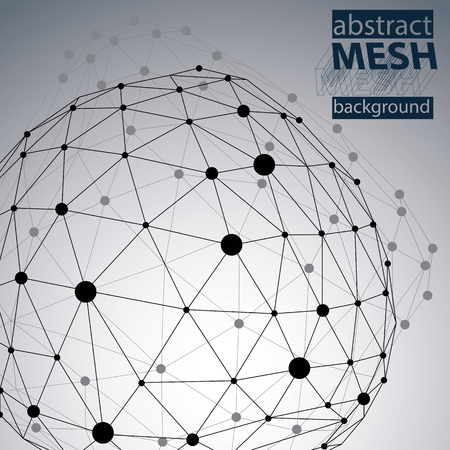 deformed: Abstract deformed vector black and white background, chaotic backdrop with symmetric spherical lined object.