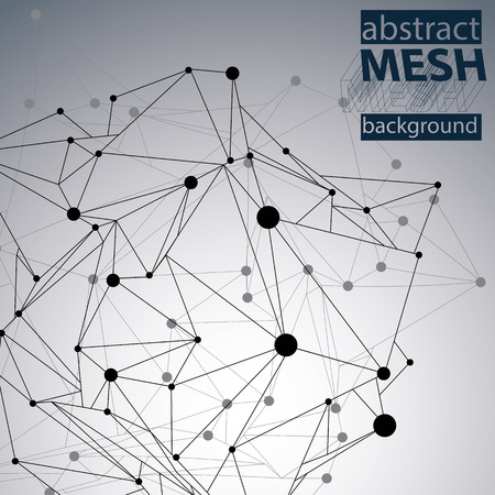 eps8: Triangular abstract black and white lined 3D illustration, vector digital eps8 lattice messy technology background.