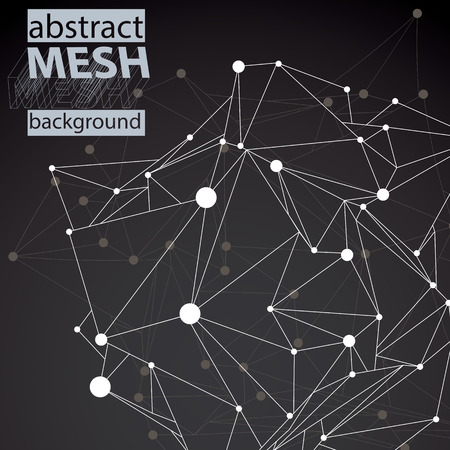 asymmetric: 3D mesh modern stylish abstract background with asymmetric wireframe structure. Illustration